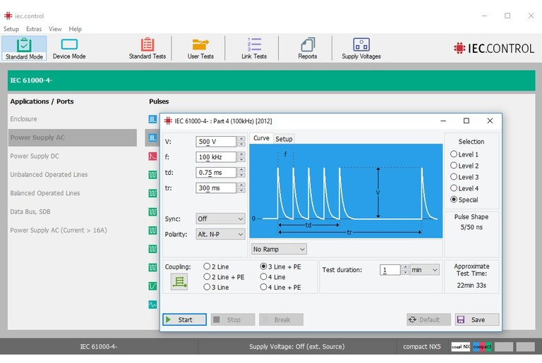 Control Software for EM Test Transient Generators